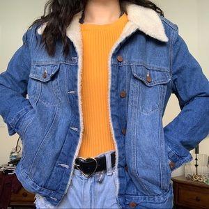 Faux wool lined denim jacket